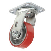 "Heavy Duty Swivel Plate Caster 4"" Polyurethane Wheel 600 Lb. Capacity"