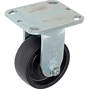 "Heavy Duty Rigid Plate Caster 4"" Molded Plastic Wheel 420 Lb. Capacity"