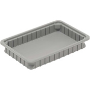 "Dandux Dividable Stackable Plastic Box 50P0112024 -  16""L x 11""W x 2-1/2""H, Gray"