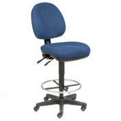Task Stool - Fabric - 360° Footrest - Blue