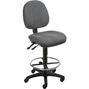 Office Stool - Fabric - 360° Footrest - Gray