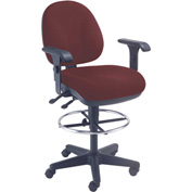 Task Stool With Arms - Fabric - 360° Footrest - Burgundy