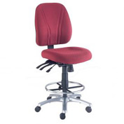 Manager Stool - Fabric - 360° Footrest  - Burgundy