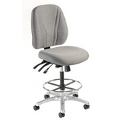 Manager Stool - Fabric - 360° Footrest  - Gray
