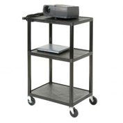 Plastic Audio Visual & Instrument Cart 24 x 18 x 34 Three Shelves
