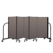 "Screenflex Portable Room Divider 5 Panel, 4'H x 9'5""L, Fabric Color: Oatmeal"