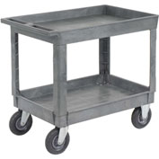 "Best Value Plastic 2 Shelf Tray Service & Utility Cart 8"" Pneumatic Caster"
