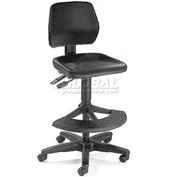 Multifunctional Office Stool with 180 Footrest - Polyurethane - Black
