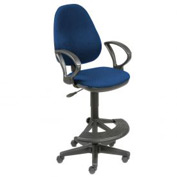 Fabric Operator Stool - 180° Footrest - Blue