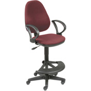 Fabric Operator Stool - 180° Footrest - Burgundy