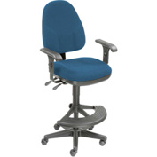 Operator Stool With Arms - Fabric - 180° Footrest - Blue