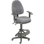 Operator Stool With Arms - Fabric - 180° Footrest - Gray