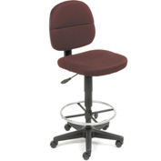 Fabric Drafting Stool - 360° Footrest - Burgundy