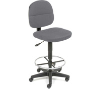 Fabric Drafting Stool - 360° Footrest - Gray