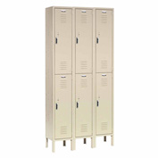 Capital™ Locker Double Tier 12x15x36 6 Door Ready To Assemble Tan