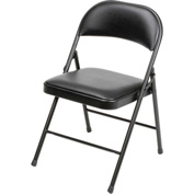 Padded Vinyl Folding Chair - Black - Pkg Qty 4