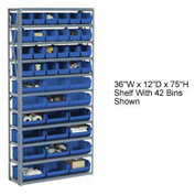 Steel Open Shelving with 36 Blue Plastic Stacking Bins 10 Shelves - 36x12x73