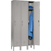 Capital™ Locker Single Tier 12x18x72 3 Door Assembled Gray