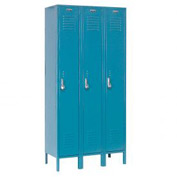 Paramount® Locker Single Tier 15x18x72 3 Door Assembled Blue