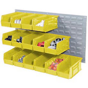 Wall Bin Rack Panel 36 x19 With 8 Yellow 8-1/4x14-3/4x7 Akro Stacking Bins