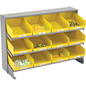 3 Shelf Bench Pick Rack With 12 Yellow Plastic Shelf Bins 8 Inch Wide 33x12x21