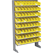8 Shelf Floor Pick Rack With 64 Yellow Plastic Shelf Bins 4 Inch Wide 33x12x61