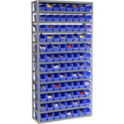 "Steel Shelving with 96 4""H Plastic Shelf Bins Blue, 36x12x72-13 Shelves"