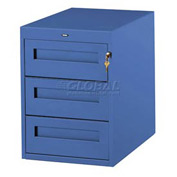 3 Utility Drawer Pedestal For 36 Inch Wide Tech Bench Blue
