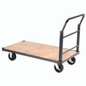 "Steel Bound Wood Deck Platform Truck 48 x 24 2400 Lb. Capacity 8"" Rubber Casters"