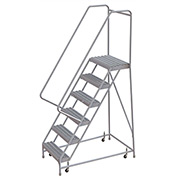 "6 Step Aluminum Rolling Ladder, 24""W Grip Step, 30"" Handrails"
