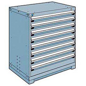 Rousseau Modular Storage Drawer Cabinet 36x24x40, 8 Drawers (2 Sizes) w/o Divider, w/Lock, Blue