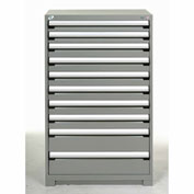 Rousseau Modular Storage Drawer Cabinet 36x24x60, 10 Drawers (3 Sizes) w/o Divider, w/Lock, Gray
