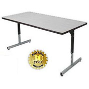 "Allied Plastics Adjustable Height Pedestal Leg Computer and Activity Table - 36"" x 72"" - Gray"