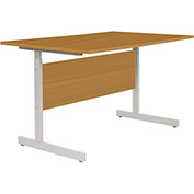 "Interion® Height Adjustable Computer Desk/Table, 60""W x 30""D x 26""- 28""H, Oak"