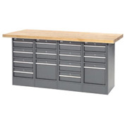 "72""W x 30""D Maple Top 14 Drawer Workbench"