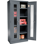 Global™ Clear View Storage Cabinet Easy Assembly 36x18x78 - Gray