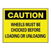 "NMC™ C-70-AB Aluminum ""Chock Your Wheels"" Safety Warning Sign 14 x 10"