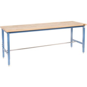 "96""W x 30""D Production Workbench - Maple Butcher Block Square Edge - Blue"
