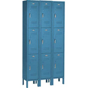 Paramount® Locker 3 Tier 12 X 15 X 24 9 Door Assembled Blue