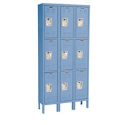 Hallowell U3288-3A-MB Premium Locker Triple Tier 12x18x24 9 Door Assembled Blue