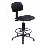 "Vinyl Office Stool - Pneumatic 17""- 21"" - Black"
