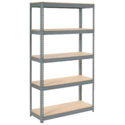 "Extra Heavy Duty Shelving 48""W x 18""D x 72""H With 5 Shelves, Wood Deck"
