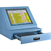 LCD Console Counter Top Security Computer Cabinet - Blue