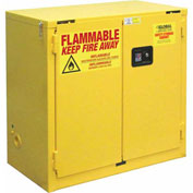 "Global&#8482 Flammable Cabinet - 22 Gallon - Self Close Double Door - 34""W x 18""D x 35""H"