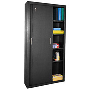 Sandusky Sliding Door Counter Height Storage Cabinets BA4S361872 - 36x18x72, Black