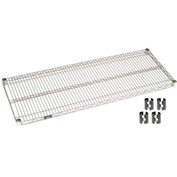 "Nexel S2460EP Silver Epoxy Wire Shelf 60""W x 24""D with Clips"