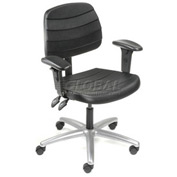 Polyurethane Chair with Arms - Mid Back - Black