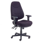 Multifunctional Office Chair with Arms - Fabric - Mid Back - Black Seat Black Base