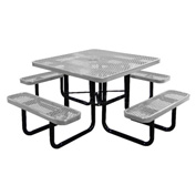 """46"""" Square Picnic Table Gray Expanded Metal Surface Mount Style"""