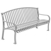 "48"" Bench Curved Top Ribbed Style - Gray"